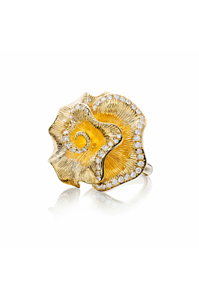 18kt Yellow Gold Jardin Ring l