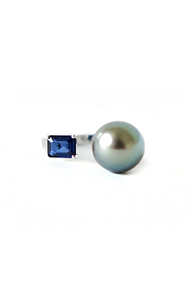 Sterling Silver Tahitian Pearl & Sapphire Ring