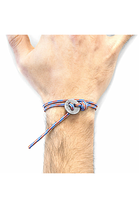 Project-RWB Red White and Blue Lerwick Silver and Rope Bracelet