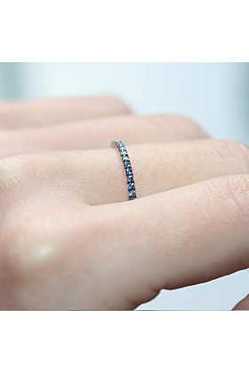18kt White Gold Blue Sapphire Full Eternity Ring