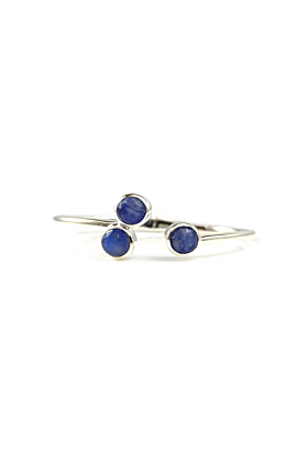 Trilogy Cuff Bracelet In Sterling Silver With Lapis Lazuli and Moonstone Doublet