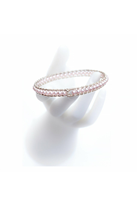 Sterling Silver Rose Pearl Girdle Bangle