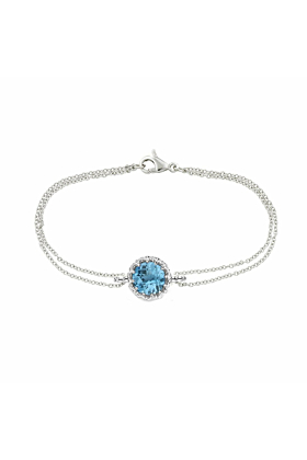 Bloomsbury White Gold Chequer-cut Blue Topaz Coronation Bracelet