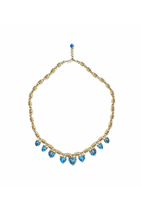 Yellow Gold Plated Silver & Turquoise Sunshine Twist Necklace