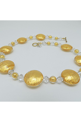Murano Glass Bead Golden Secret Necklace