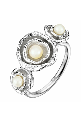 Cornish Seawater Shaped Triple Double Cup Designer Handmade Silver Pearl Ring