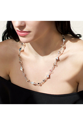 Sterling Silver Diamond Marble Necklace