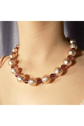 Murano Glass Bead Amethyst Rose Necklace
