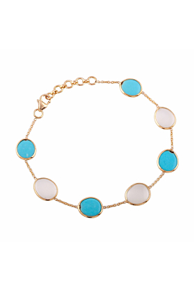18kt Yellow Gold Turquoise & Milky Moonstone Unshaped Bracelet