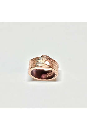 Copper Handmade Buzz Stitch 3 Tooth Ring