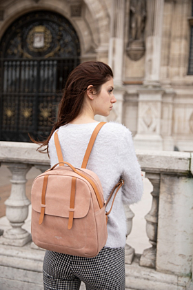 Lola Salmon Pink Leather Backpack