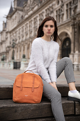 Lola Apricot Leather Backpack