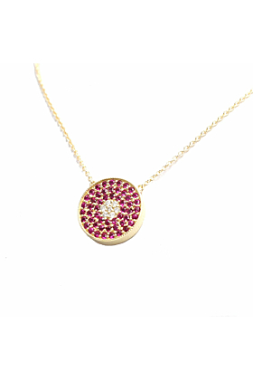 14kt Gold Natural Ruby & Diamond Pendant