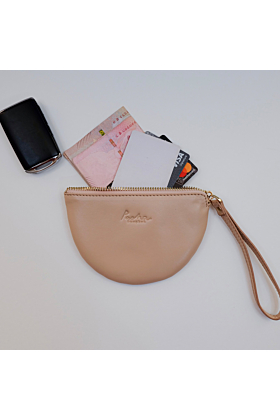 Half Moon Leather Wristlet | Pink Nude