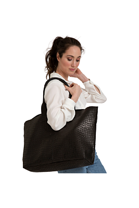 oversized leather tote bag in black crocodile embossed leather