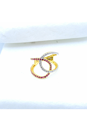 14kt Yellow Gold Ruby & Diamond Twisted Statement Ring