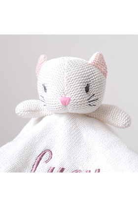 Personalised White Cat Knitted Baby Comforter