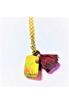 Earthy Cube Pendant Necklace