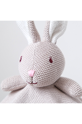 Personalised Mink Bunny Knitted Baby Comforter