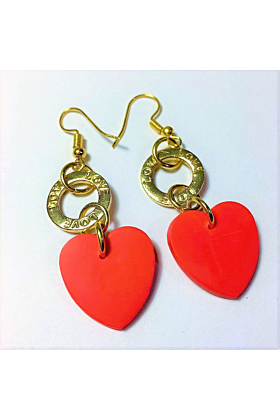 18kt Yellow Gold Plated Red Heart Dangle Earrings