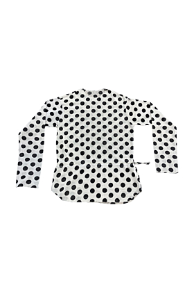 Tyrian Silver Coin White Dotted Mesh Top