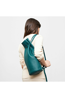 Leather backpack green on model