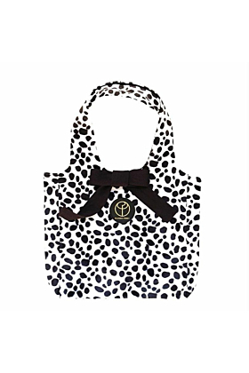 Small Faux Fur Dalmatian Print Hobo Bag