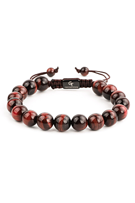 Men's Red Tiger Eye Beaded Bracelet