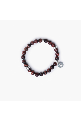 Sterling Silver Red Tiger's Eye Bracelet
