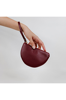 Half Moon Leather Wristlet | Maroon