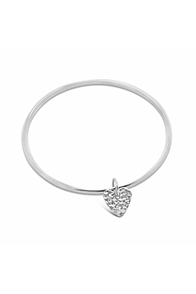 Sterling Silver Spirit Heart Oval Bangle Bracelet