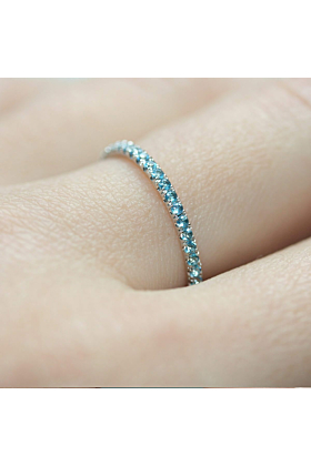 18kt White Gold & Blue Topaz Full Eternity Ring