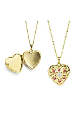 Gold Love Locket - Ruby