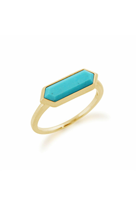 Gemondo Yellow Gold Plated Silver & Turquoise Hexagon Prism Ring