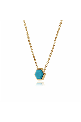 Gemondo Yellow Gold Plated Silver Turquoise Hexagon Necklace