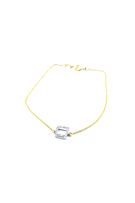 18kt White & Yellow Gold Diamond Square Bracelet
