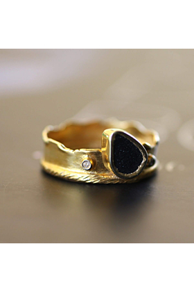Yellow Gold Plated Silver Black Agate Ring