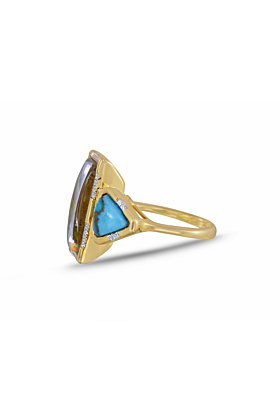 Sterling Silver Gold Plated Wild & Free Turquoise & Vibrant Mosaic Ring
