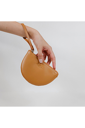 Half Moon Leather Wristlet | Tan