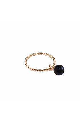 14kt Yellow Gold Plated & Black Freshwater Pearl Orb Ring