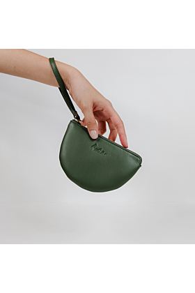 Half Moon Leather Wristlet in Green