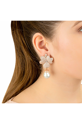 Rhodium Plated White Flower Baroque Pearl Drop Earrings