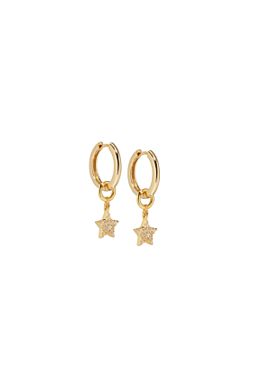 18kt Gold Vermeil Paved Star Diamond Charm Earring Set