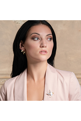 Gold Plated Sterling Silver Dove Brooch for Women