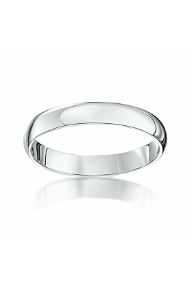 18kt White Gold D-Shape Extra Heavy Wedding Ring