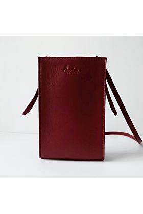 'MARS' Leather Crossbody Bag in Maroon
