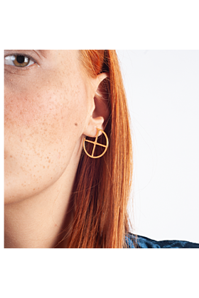 Yellow Gold Plated Crossroad Hoop Earrings