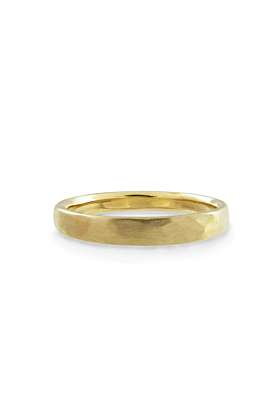 14kt Gold Forged Men's Narrow Wedding Band