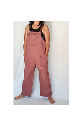 Cotton Canvas Overall with Leather Straps