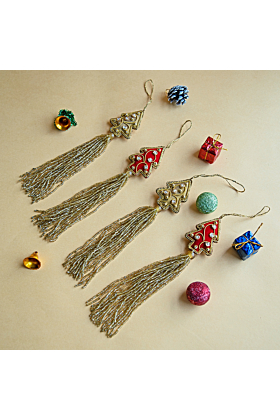 Set Of 4 Hand Embroidered Christmas Tree Ornaments with Tassel
